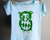 Orion the Owl Burnout T-Shirt - Hand Dyed  Pale Light Blue with Green  Ink Screen Printed Ink - sized 6 to 12 month