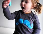 Mustache Kids Shirt.  Organic Long Sleeved Children Shirt.  Asphalt Grey.  Blue.   8 youth.