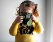 Camera Shirt Organic Long Sleeved, Yellow Kids Shirt.  Sizes 6 - 12 months - 1 left