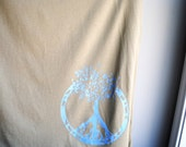 Peace Sign - Tree of Life Womens Tank - Sleeveless Camel Brown T-Shirt -  Screen printed in Light Blue and White Ink - Size Extra Large
