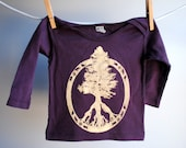 Evergreen Tree of Life - Peace Symbol Long Sleeved Infant Shirt, Organic, Hand Dyed Fig Plum Purple with White Gold Ink, 6 to 12 months SALE