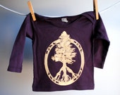 Evergreen Tree of Life - Peace Symbol Long Sleeved Infant Shirt, Organic, Hand Dyed Fig Plum Purple with White Gold Ink, 12 to 18 months