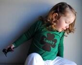 Lucky Clover Kid Shirt. Organic Long Sleeved Shirt.  Emerald Green. Screen printed.  Size 6 - 12 months