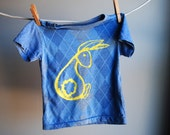 Bunny T-Shirt - Blue Argyle and Screen Printed in Yellow Ink - sized 6 to 12 month