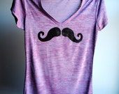 Mustache T-Shirt - V Neck Heather Burnout Tunic - Purple  with Black Print - Womens size Extra Large