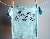 Lion and the Unicorn T-shirt, Burnout, Hand Dyed Sea Foam with Black Ink, sized 12-18 months.