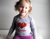 Kid Long Sleeved Organic Shirt.  Heart breaker.  Grey.  Red.   10 Youth.