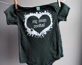 My Mom Rocks Organic Infant Bodysuit - 18  to 24 month - Hand Dyed Deep Forest Green and Screen printed in White Ink