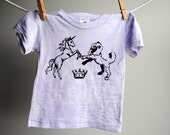 Lion and the Unicorn Burnout T-shirt - Hand Dyed Lilac and  Screen Printed in Black  Ink - 3 to 6 month