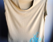 Big Wheel Womens Tank - Sleeveless TShirt - Camel and Screen printed in Light Blue Ink- Size Extra Large