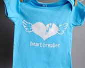 Heart Breaker Infant T-Shirt, hand dyed turquoise blue and screen printed in white ink. 12-18 months