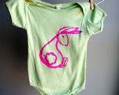 Rumpy Bunny Infant Bodysuit,  Hand Dyed Spring Green and Screen Printed in Neon Pink Ink, sized 18-24 months.