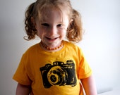 SALE - Camera T-Shirt. Childrens Shirt.  Golden Yellow. size 2  toddler