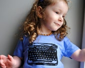 SALE - Typewriter Children Shirt.  Organic.  Periwinkle Blue.  2  toddler.