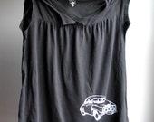 1972 Saab Babydoll Shirt, Black with White  Ink, Womens Large