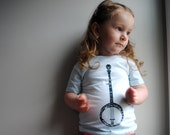 Banjo T-Shirt.  Kid Shirt.  Organic Shirt.  Sea Blue.  Pale.  6 Toddler.