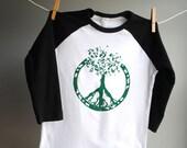 Peace Tree Shirt Black Raglan, sizes 10 Youth  SALE