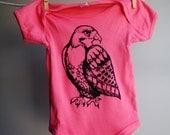 Hawk Baby Bodysuit, Screen Printed Organic Bodysuit, sized 6-12 months
