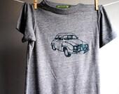 1972 Saab, Vintage Car  T-Shirt,  Eco-Heather Grey with Hunter Green Print -  Extra, Extra Small, XXS