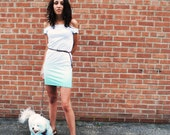 Aquamarine Green Ombre Dress, Soft Jersey, Hand Dyed, Small - SALE