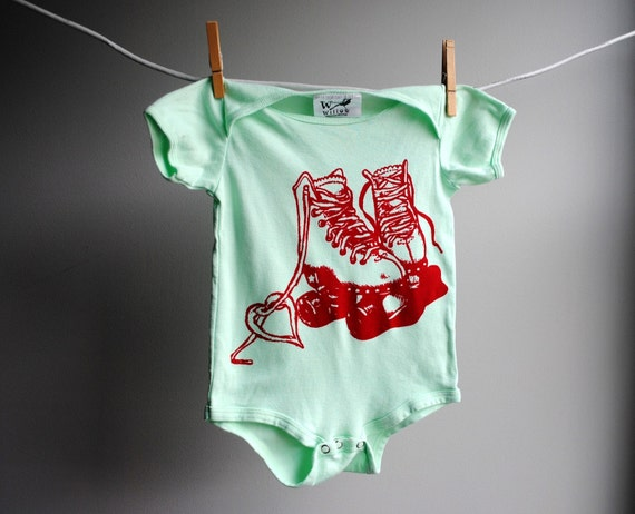 Roller Skates Organic Bodysuit - 18  to 24 month - Hand Dyed Mint Green and Screenprinted in Red Ink