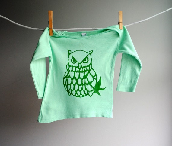 Ozymandius the Grumpy Owl Long Sleeved Infant Shirt - Hand Dyed Mint Green with Dark Green Ink Ink, 12 to 18 months