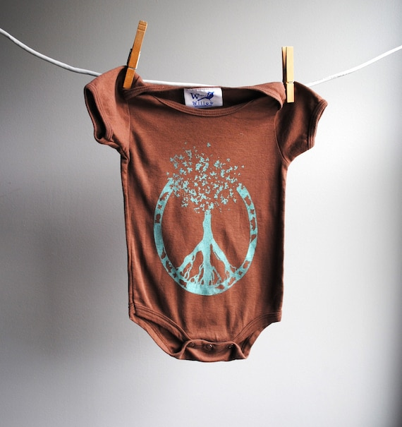 Peace Symbol - Tree of Life Organic Bodysuit - sized 6 to 12 months - Hand Dyed Cocoa Brown with Light Teal Screenprint