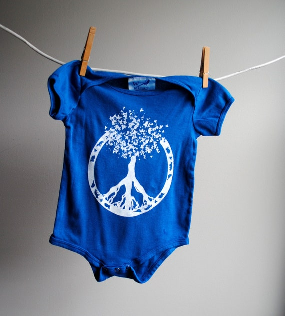 Peace - Tree of Life Infant Bodysuit, Organic, 12 -18 months, hand dyed marine blue and screen printed in white ink.