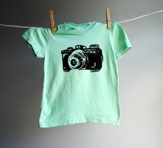 Camera T-Shirt, Organic - Hand Dyed Aqua Green with Black Screen Printed Ink,  10 youth.