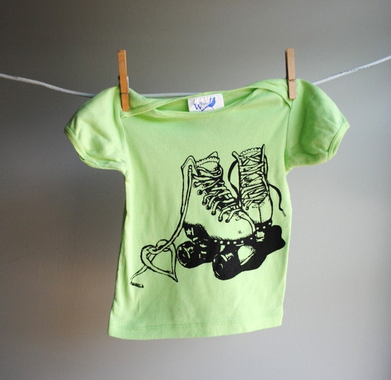 Roller Skate T-Shirt - Organic and Sustainable - 18 to 24 month - Hand Dyed Spring Green and Screen Printed in Black Ink