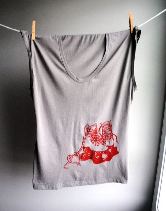 Roller Skate Womens Tank - Sleeveless Elephant Grey  TShirt -  Screen printed in Red Ink - Size Extra Large