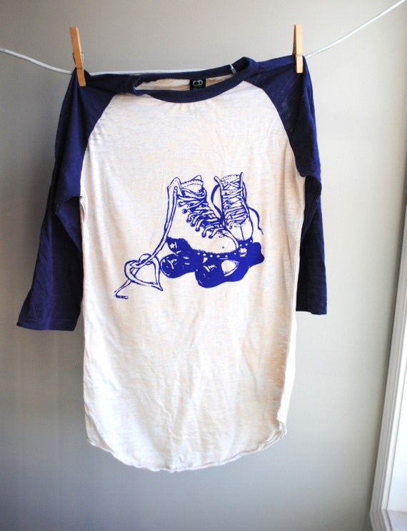 Roller Skates - Baseball Style Burnout Shirt - Cobalt Blue and Natural - 3/4 sleeves - Unisex Extra Small