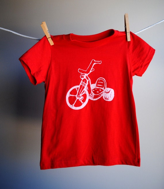 Big Wheel T-Shirt, Red with White Screen Printed Ink, 2 toddler