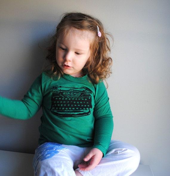Typewriter Long Sleeved Kids Shirt, Organic, Hand Dyed Kelly Green.  Sizes 3 months - 2 years