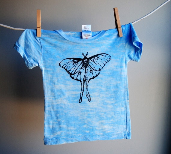 Luna Moth Burnout T-shirt - Hand Dyed Pale Blue and  Screen Printed in Black  Ink - 3 to 6 month