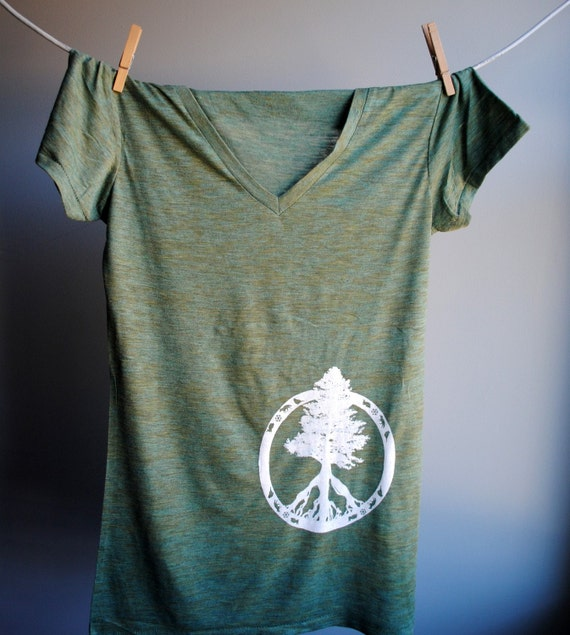 Evergreen Peace Tree of Life T-Shirt - V Neck Heather Burnout Tunic - Emerald with White Print - Womens size small