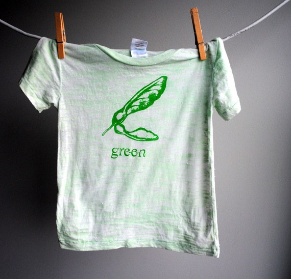 Seed Pod T-shirt, Burnout, Hand Dyed Mint Green with Green Ink, sized 12-18 months.