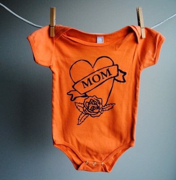 Mom Tattoo Heart Infant Bodysuit - Orange with Blue Ink - sized 12 to 18 months