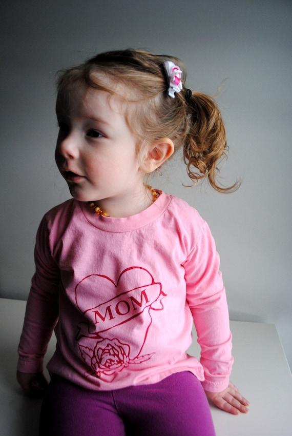 Mom Shirt.  Kids Organic Long Sleeved Shirt.  Pink. Red.  8 youth  SALE
