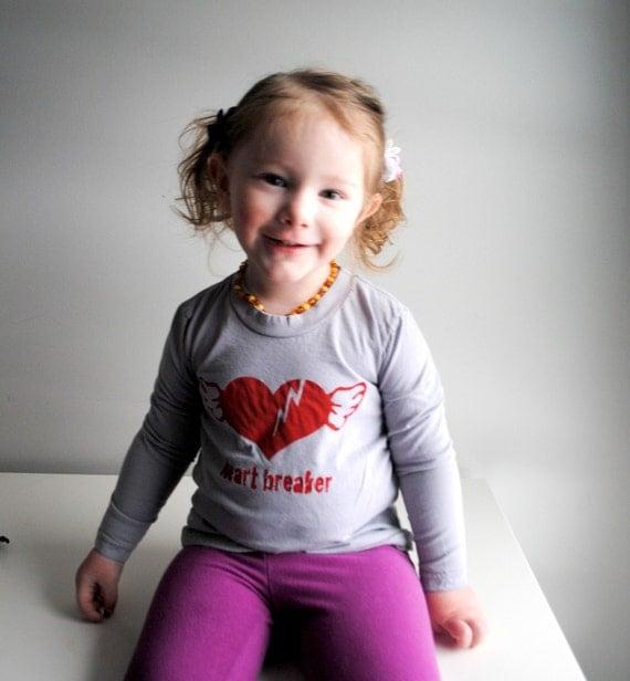 Kid Long Sleeved Organic Shirt.  Heart breaker.  Grey.  Red.   10 Youth.