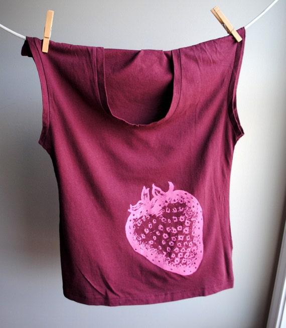 Strawberry - Womens Tank - Sleeveless Merlot Shirt -  Screen printed in Pink  Ink - Size Medium - SALE