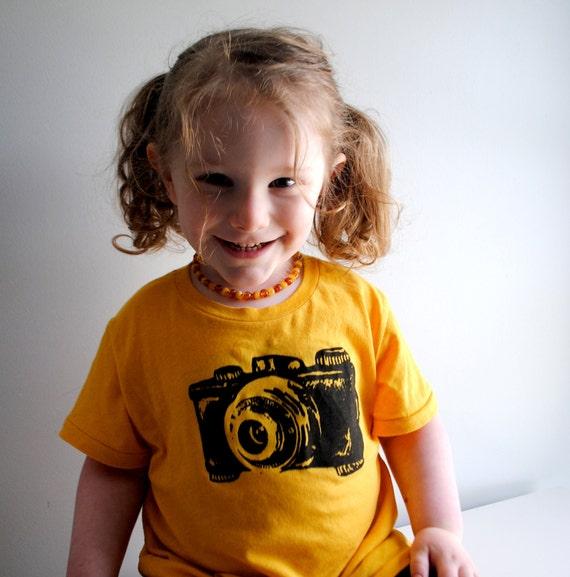 SALE - Camera T-Shirt. Childrens Shirt.  Golden Yellow. size 2  toddler