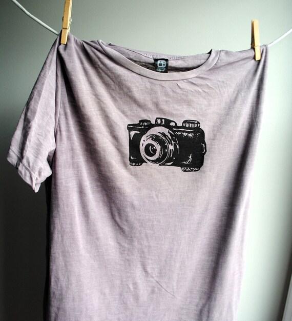 Vintage Camera Mens Burnout Shirt - Storm Cloud Grey with Black print - Men's Medium