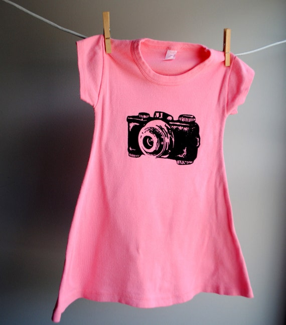 Vintage Camera T-Shirt Dress,  Hand Dyed Coral Pink and screen printed in Black ink. Sizes 8 and 10