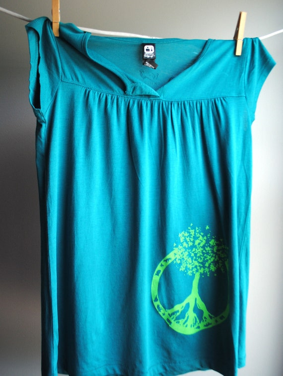 Peace Symbol - Tree of Life Screen Printed Babydoll Shirt, Teal with Green Ink, Womens Small