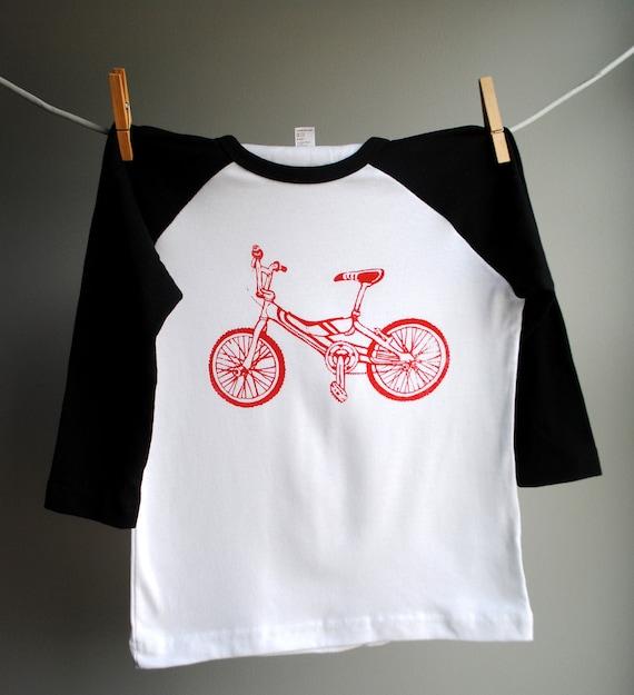 BMX Bike Black Raglan Shirt with Red Print, sizes 8 Youth  SALE