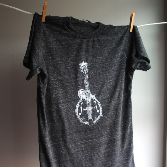Mandolin  T-Shirt, Unisex, Man or Woman - Eco-Heather Black with White Print - XX Large - 2XL SALE