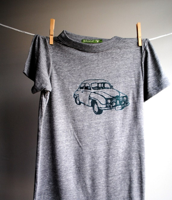 1972 Saab, Vintage Car  T-Shirt,  Eco-Heather Grey with Hunter Green Print -  Extra, Extra Small, XXS