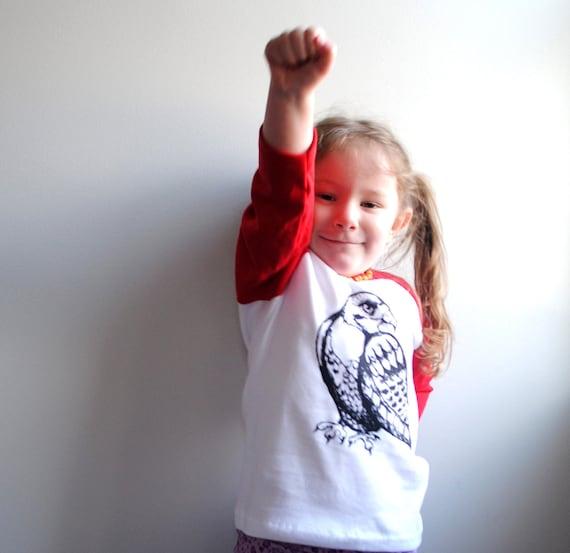 SALE - Hawk.  Kids Shirt.  Red Raglan T-Shirt, sizes 4 toddler