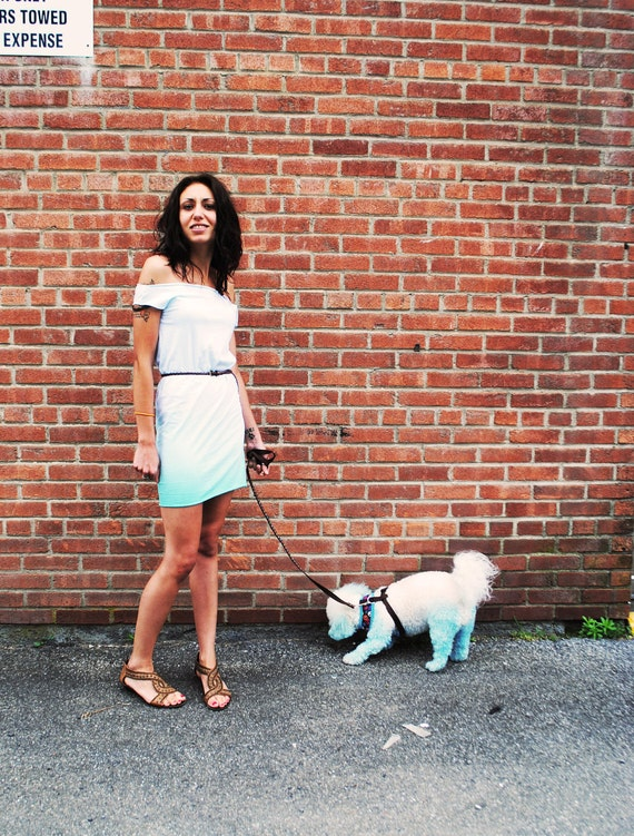 SALE - Aquamarine Green Ombre Dress, Soft Jersey, Hand Dyed, Large - SALE